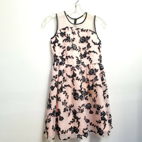 Girls size 14 Pink black sleeveless dress